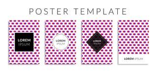 Vektorillustrations-Hintergrundsatz Abdeckung mit rosa geometrischer Form Stockbild
