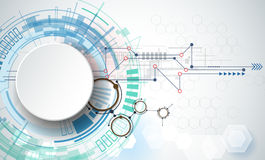 Vektorillustrations-Techniktechnologie Integrations- und Innovationstechnologiekonzept mit Papier 3D beschriften Kreise Stockfotografie