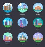 Vektorillustrationsamling av världsstäder stock illustrationer