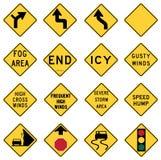 Trafikera varningstecken i Förenta staterna stock illustrationer