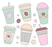 Vektorillustrationsamlingen ställde in med pappers- koppar för den olika gulliga pastellfärgade kulöra tecknade filmen för kaffe, stock illustrationer