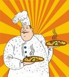 Vektorillustrationschef und -pizza Stockfotografie