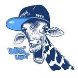 Vektorillustrationsdruck mit den Giraffenbildern und -text, passend für den Druck auf einem T-Shirt oder einem Sweatshirt, Skizze Lizenzfreie Stockfotos