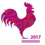 Vektorillustrationshahn, chinesischer Kalender Schattenbild des roten Hahnes, verziert mit Dreieckmustern Stockfotos