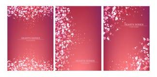 Vektorillustrationsherzhintergrund-Designsatz Stockbild