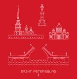 Vektorillustrationsikone stellte - Symbole von St Petersburg, Russland ein Einfache Linie gezeichnet Lizenzfreies Stockbild