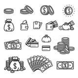 Vektorillustrationskonzept des Geldsatzes Ikone auf grünem Hintergrund lizenzfreie abbildung