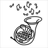 Vektorillustrationskonzept des Musikinstrumentes des französischen Horns Schwarzes auf weißem Hintergrund stock abbildung
