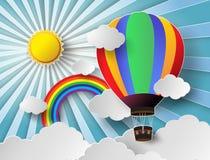 Vektorillustrationsolljus på molnet med ballongen för varm luft Fotografering för Bildbyråer