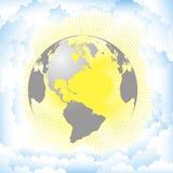 Vektorillustrationsplanetensonne und -wolken Lizenzfreie Abbildung