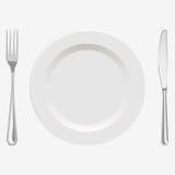 Vektorillustrationsplatte und Gabel und Messer Lizenzfreies Stockfoto