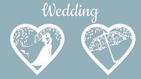 Vektorillustrationspostkarte Einladungs- und Grußkarte mit mit dem Bräutigam und der Braut unter den Bäumen und den Regenschirmen vektor abbildung
