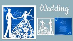 Vektorillustrationspostkarte Einladungs- und Gru?karte mit mit dem Br?utigam und der Braut Muster f?r den Laser-Schnitt, Junge un stock abbildung