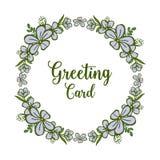 Vektorillustrationspurpurroter Blumenrahmen für Grußkarte lizenzfreie abbildung