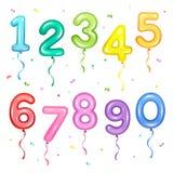 Vektorillustrationssatz der bunten Zahl formte Ballone für b Lizenzfreies Stockfoto