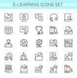 Vektorillustrationssatz der E-Learning-Linie Ikonen, on-line-Ausbildungselemente in der dünnen Linie elegante Art minimale Netzik lizenzfreie abbildung
