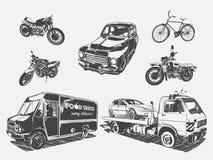 Vektorillustrationssatz des Transportmotorrades, Fahrrad, Auto, Abschleppwagen, Lebensmittel-LKW Stockfotografie