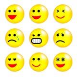 Vektorillustrationssatz kühle Lächelnbälle. Lizenzfreies Stockfoto