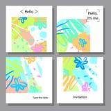 Vektorillustrationssatz künstlerische bunte Universalkarten Bürstenbeschaffenheiten Lizenzfreies Stockfoto