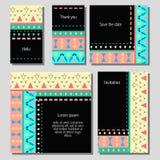 Vektorillustrationssatz künstlerische bunte Universalkarten Hochzeit, Jahrestag, Geburtstag, Feiertag, Partei stock abbildung