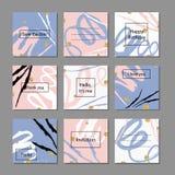Vektorillustrationssatz künstlerische bunte Universalkarten Hochzeit, Jahrestag, Geburtstag, Feiertag, Partei lizenzfreie abbildung