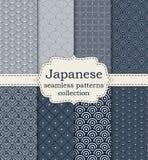 Vektorillustrationssatz nahtlose Muster japanisch stock abbildung