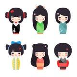 Vektorillustrationssatz nette japanische kokeshi Puppen Stockfotografie