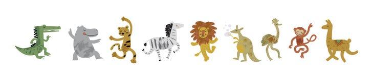 Vektorillustrationssatz nette tanzende Tiere in der Karikaturart stockfotos