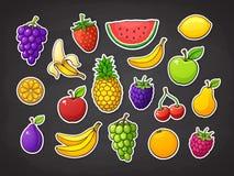 Vektorillustrationssatz Sommerfrüchte Erdbeere, Kirsche, Wassermelone, Apfel, Banane, Orange, Zitrone, Ananas lizenzfreie abbildung