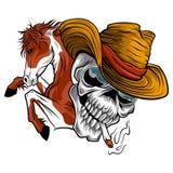Vektorillustrationsschädel-Cowboyfahrt ein Pferd vektor abbildung
