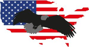 Vektorillustrationsschattenbild Adler und Amerika Stockfotografie