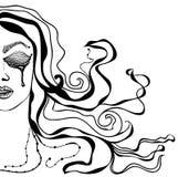 Vektorillustrationsschattenbild einer Frau mit dem schönen Haar kann als Fahnen für Designfrauen-Gefühlrisse benutzt werden Stockbild