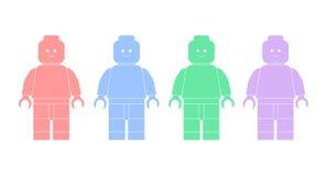 Vektorillustrationsschattenbilder von lego Männern Stockbilder