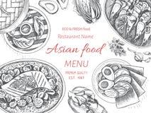 Asiatische Lebensmittel-Restaurant-Menü-Skizzen-Schablone Vektor ...