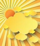 Vektorillustrationsunburst över moln Royaltyfria Bilder