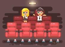Vektorillustrationszeichentrickfilm-figur-Kinder, -mitschüler, -schüler, -Schüler, -Schulmädchen, -junge und -mädchen sitzen here Stockbild