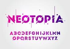 Vektorillustrationszusammenfassungstechnologieneonguß und -alphabet techno Effekt-Logoentwürfe Digitales Raumkonzept der Typograf lizenzfreie abbildung