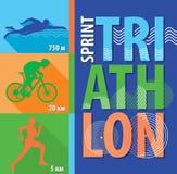 Vektorillustrationtriathlonen, lägenhetdesignen, affisch sprintar triathlon Arkivfoton