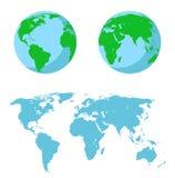 Vektorillustrationuppsättning - översikt av världen, de två halvkloten vektor illustrationer