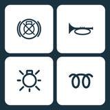Vektorillustrationuppsättning av enkel lantgård och trädgårds- symboler Beståndsdelfailt av den ledar- belysningströmbrytaren, ho stock illustrationer