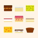 Vektorillustrationuppsättning av födelsedagkakor i enkelt geometriskt f Royaltyfri Bild