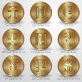 Vektorillustrationuppsättning av guld- mynt med Royaltyfria Bilder