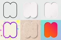 Vektorillustrationuppsättning av gullig djärv rundad bokstav n med olik lutningeffekt och genomskinlig skugga vektor illustrationer