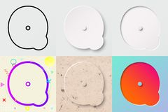 vektorillustrationuppsättning av gullig djärv rundad bokstav q med olik lutningeffekt och genomskinlig skugga vektor illustrationer