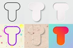 Vektorillustrationuppsättning av gullig djärv rundad bokstav t med olik lutningeffekt och genomskinlig skugga royaltyfri illustrationer