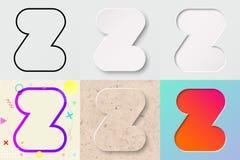 vektorillustrationuppsättning av gullig djärv rundad bokstav z med olik lutningeffekt och genomskinlig skugga stock illustrationer