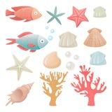 Vektorillustrationuppsättning av havsinvånare vektor illustrationer
