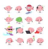 Vektorillustrationuppsättning av hjärnemoji, klyftigt tecken för sinnesrörelse i olika positioner och sinnesrörelser, idékläcknin stock illustrationer