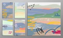 Vektorillustrationuppsättning av konstnärliga färgrika universella kort Borstetexturer Bröllop årsdag, födelsedag, ferie Royaltyfria Foton
