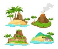 Vektorillustrationuppsättning av olika platser av tropiska öar med palmträd och berg, vulkan som isoleras på vit vektor illustrationer